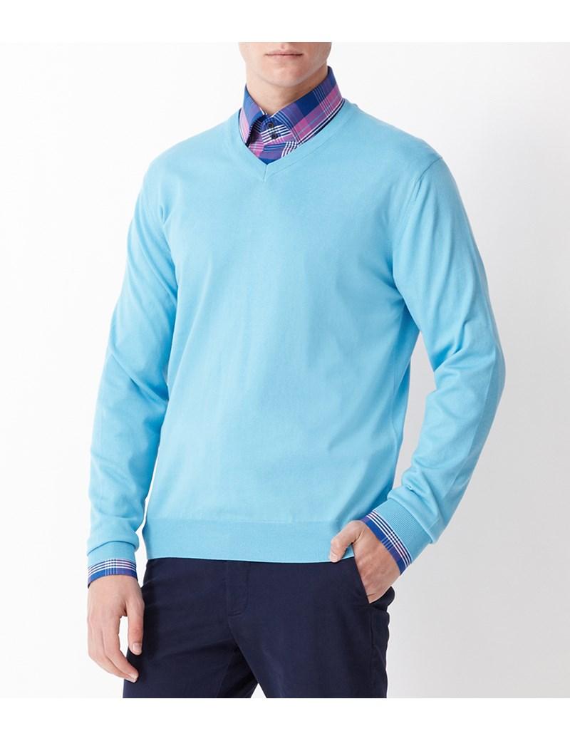 Men's Lt Blue Garment Dye Pima Cotton V Neck Jumper