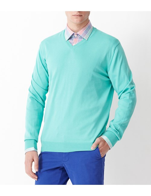 Men's Mint Green Garment Dye Pima Cotton V Neck Jumper