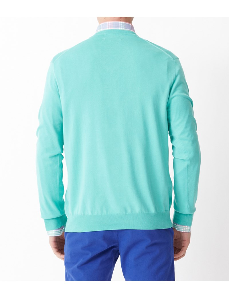 Men's Mint Green Garment Dye Pima Cotton V Neck Jumper