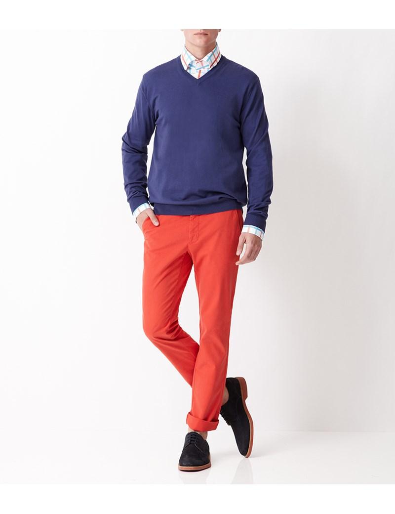 Men's Navy Garment Dye Pima Cotton V Neck Jumper