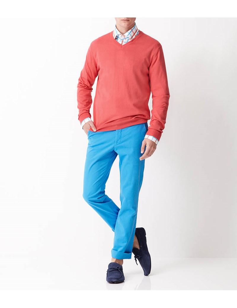 Men's Coral Garment Dye Pima Cotton V Neck Jumper
