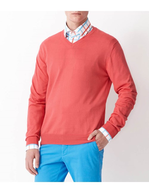 Men's Coral Garment Dye Pima Cotton V Neck Jumper