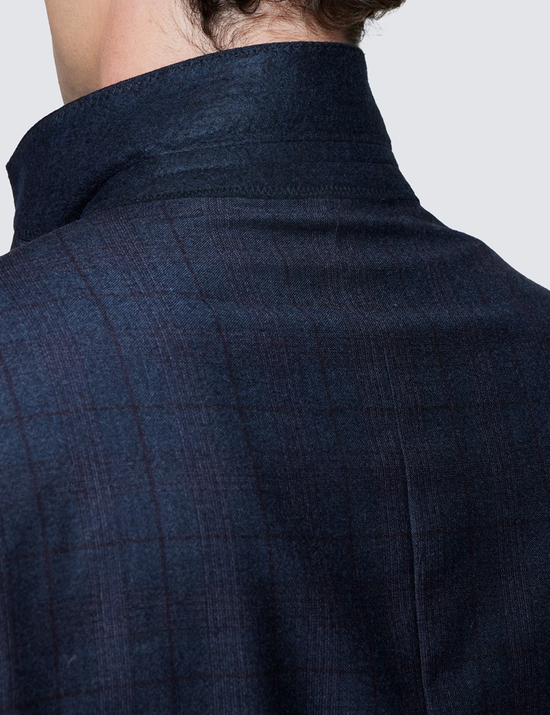 Men's Blue & Purple Prince Of Wales Check Tailored Fit Italian Suit Jacket - 1913 Collection