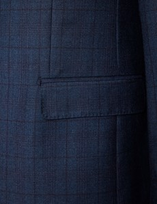 Men's Blue & Purple Prince Of Wales Check Tailored Fit Italian Suit - 1913 Collection