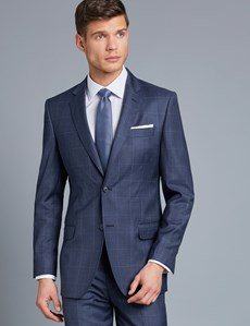 Men's Navy & Blue Windowpane Check Italian Suit Jacket - 1913 Collection