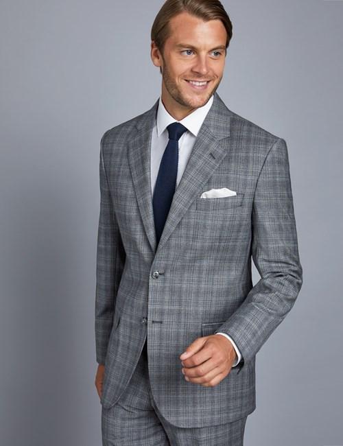 Anzugsakko - Tailored Fit - Prince of Wales Karo grau - Schurwolle - 2-Knopf Einreiher - gefüttert - Seitenschlitze