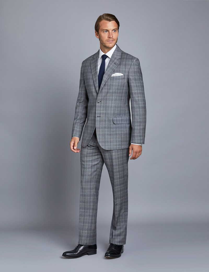 Men's Grey Check Tailored Fit Italian Suit – 1913 Collection