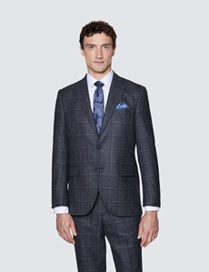 Men's Dark Grey Windowpane Tailored Fit Check Italian Suit Jacket - 1913 Collection