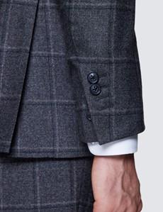 Men's Dark Grey Windowpane Tailored Fit Check Italian Suit - 1913 Collection