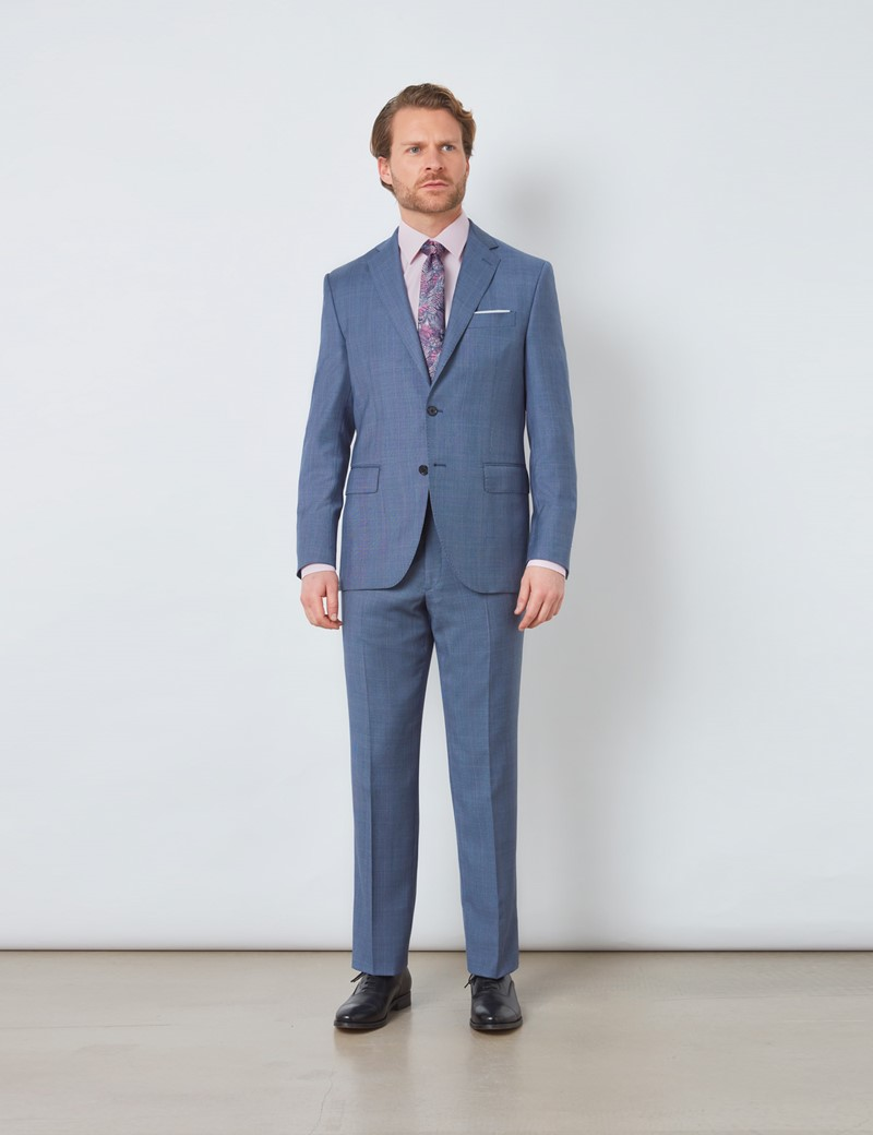 Men's Blue Prince Of Wales Check Tailored Fit Italian Suit - 1913 Collection