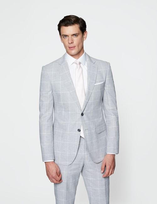 Men's Grey Check Linen Cotton Slim Fit Suit Jacket