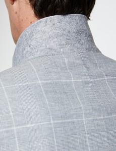 Einreiher Sakko – Leinen-Baumwolle Mix – Slim Fit – Karo Grau