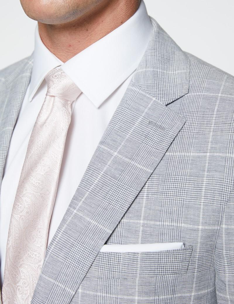 Men's Grey Check Linen Cotton Slim Fit Suit