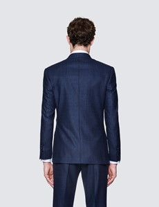 Men's Navy Double Breasted Prince Of Wales Check Tailored Fit Suit Jacket - 1913 Collection