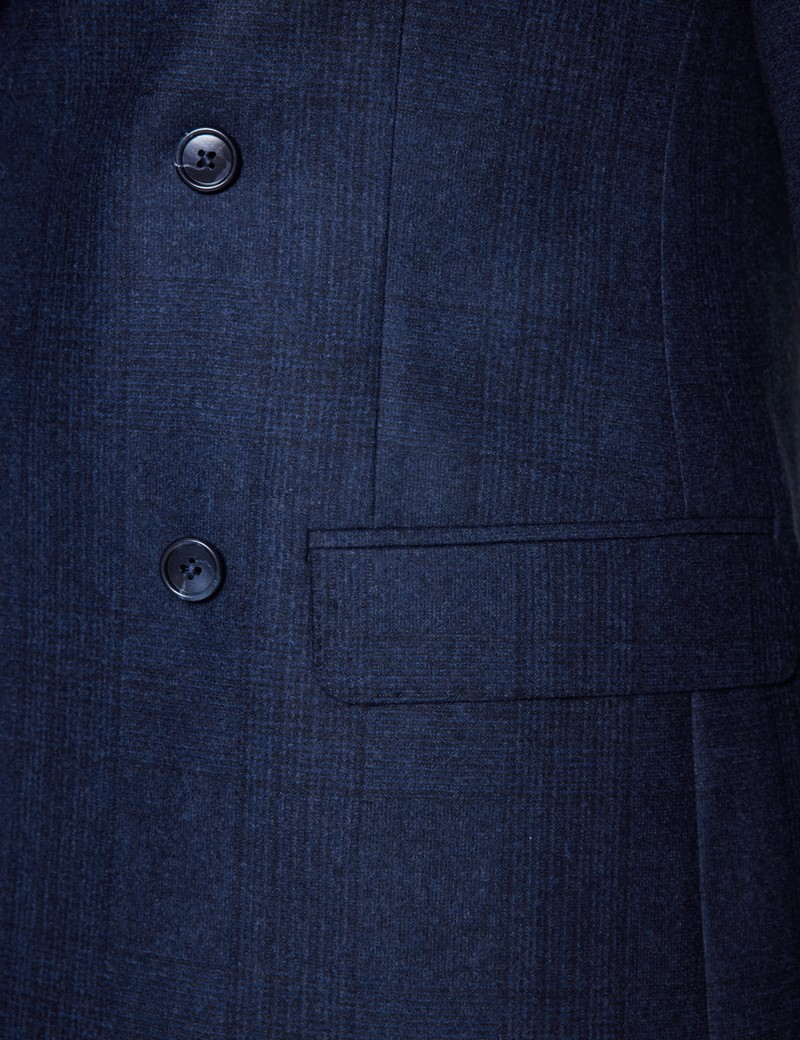 Men's Navy Double Breasted Prince Of Wales Check Tailored Fit Suit - 1913 Collection