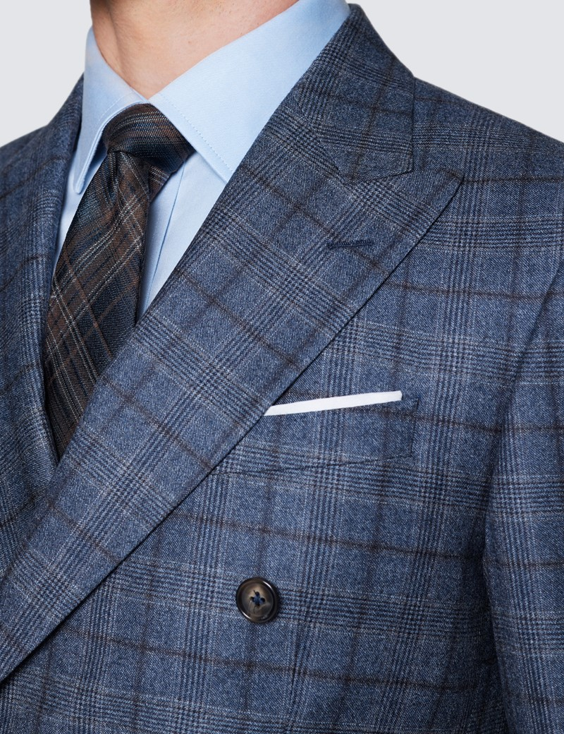Men's Blue & Brown Prince Of Wales Check Tailored Fit Suit Jacket - 1913 Collection