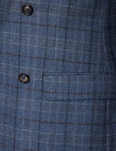 Men's Blue & Brown Prince Of Wales Check Tailored Fit Suit