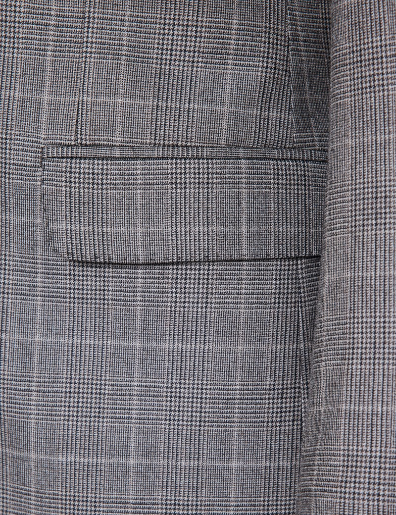 Men's Brown Prince Of Wales Check Tailored Fit Flannel Suit Jacket - 1913 Collection