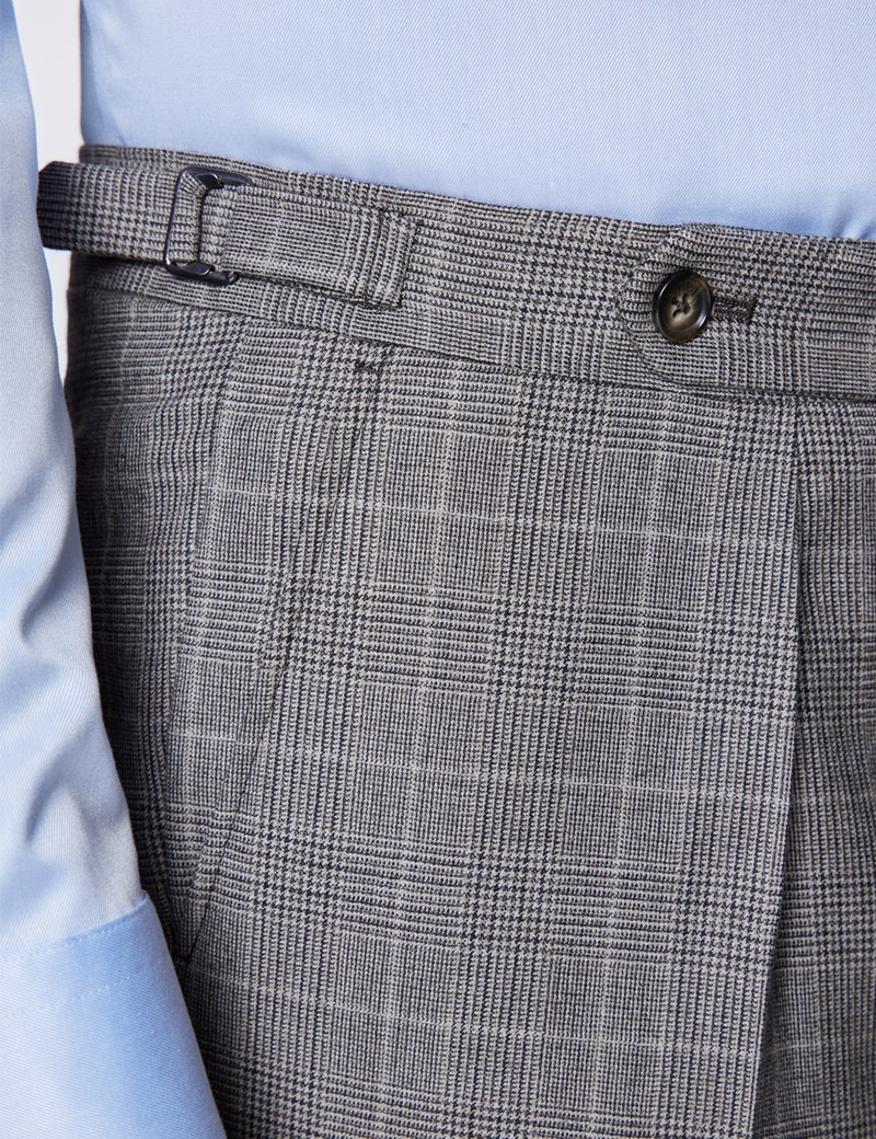 Men's Brown Prince Of Wales Check Tailored Fit Flannel Suit  - 1913 Collection