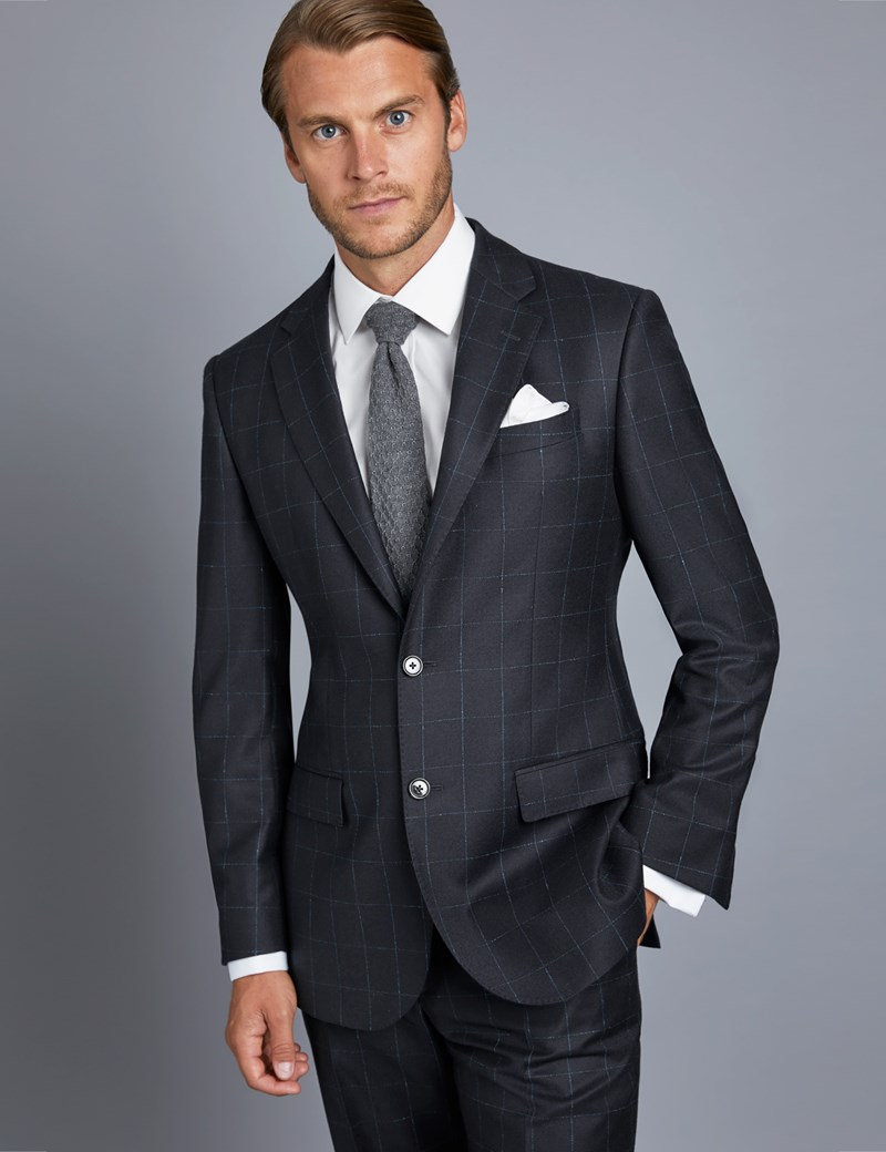 Men's Navy & Blue Check Tailored Fit Italian Suit Jacket – 1913 Collection