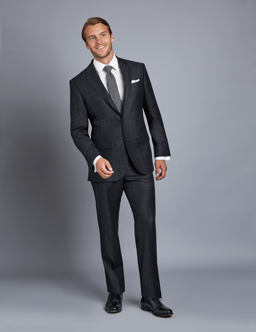 Men's Navy & Blue Check Tailored Fit Italian Suit – 1913 Collection