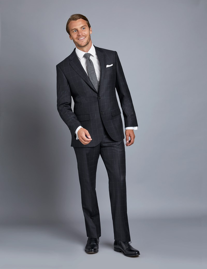low priced 2a13d 5c812 1913 Kollektion – Luxuriöser Anzug aus 110S Schurwolle – Tailored Fit –  Gitterkaro dunkelblau & blau
