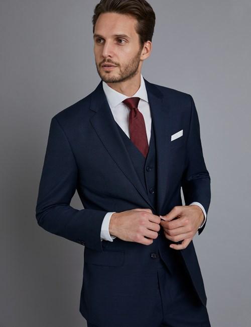 Luxuriöses Anzugsakko - Tailored Fit - Gitterkaro marine & braun - Schurwolle - 2-Knopf Einreiher - gefüttert - Seitenschlitze