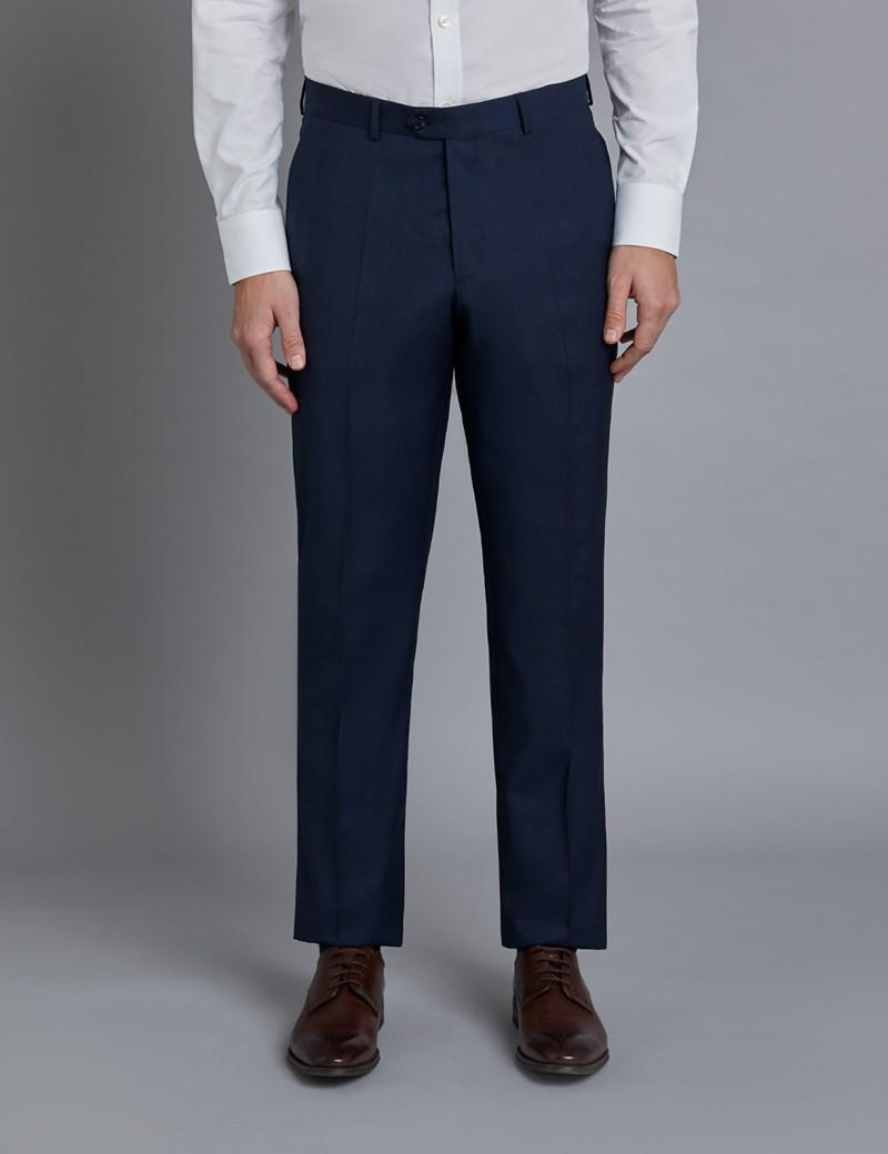1913 Kollektion – Luxuriöser Anzug aus 130S Schurwolle – Tailored Fit – Gitterkaro marine & braun