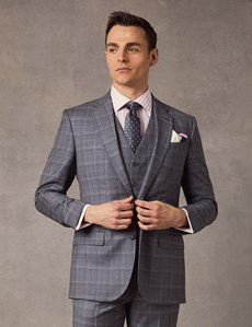 Men's Grey & Blue Prince Of Wales Plaid Tailored Fit Italian Suit Jacket – 1913 Collection