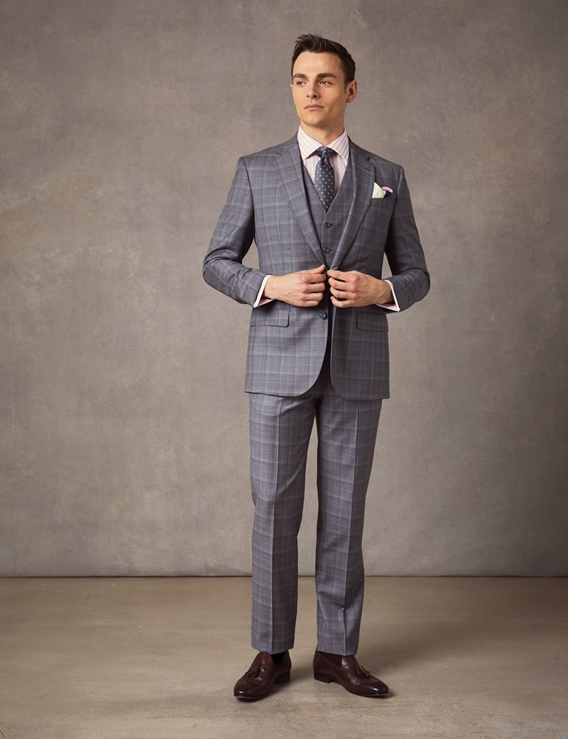 Men\u0027s Grey \u0026 Blue Prince Of Wales Check Tailored Fit Italian Suit \u2013 1913  Collection