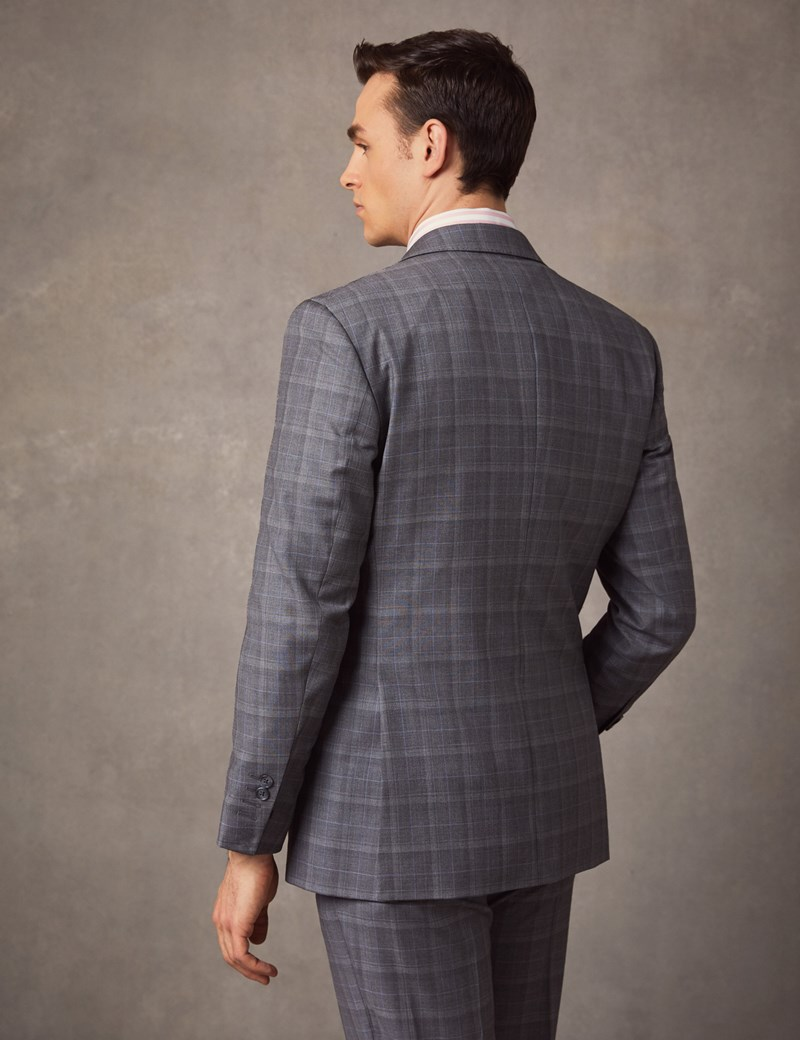 Men's Grey & Blue Prince Of Wales Check Tailored Fit Italian Suit – 1913 Collection
