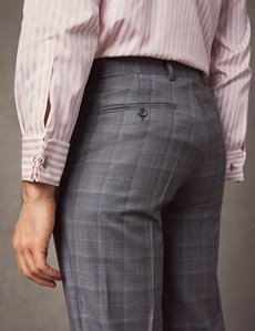 Men's Grey & Blue Prince Of Wales Plaid Tailored Fit Italian Suit – 1913 Collection