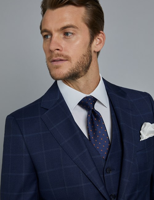 Men's Navy & Blue Windowpane Check Slim Fit Italian Suit Jacket – 1913 Collection