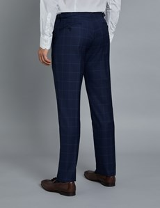 1913 Kollektion – Luxuriöser Anzug aus 140S Schurwolle – Slim Fit – Gitterkaro marine & blau