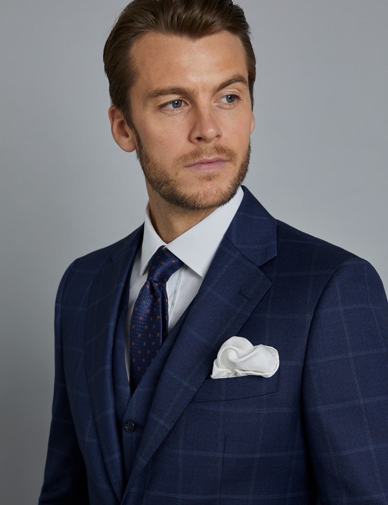 Men's Navy & Blue Windowpane Check Slim Fit Italian Suit – 1913 Collection