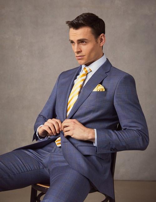 Men's Mid Blue Ombre Plaid Tailored Fit Italian Suit Jacket – 1913 Collection
