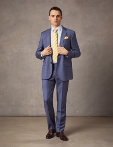 Men's Mid Blue Ombre Check Tailored Fit Italian Suit Jacket – 1913 Collection