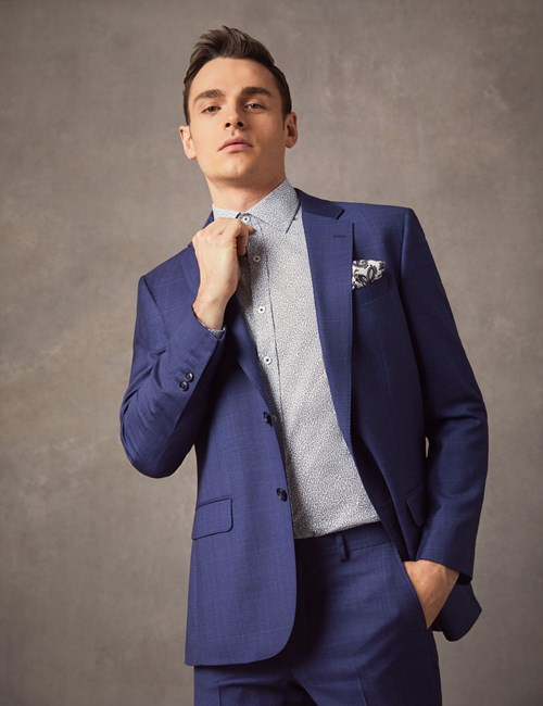 Men's Indigo Prince Of Wales Check Tailored Fit Italian Suit Jacket – 1913 Collection