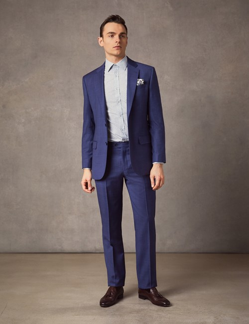 500fde9288d Men's Indigo Prince Of Wales Check Tailored Fit Italian Suit – 1913  Collection ...