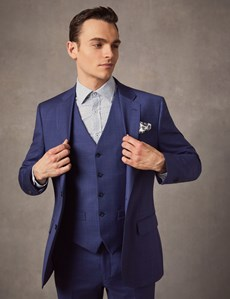 Men's Indigo Prince Of Wales Check Tailored Fit Italian Suit  – 1913 Collection