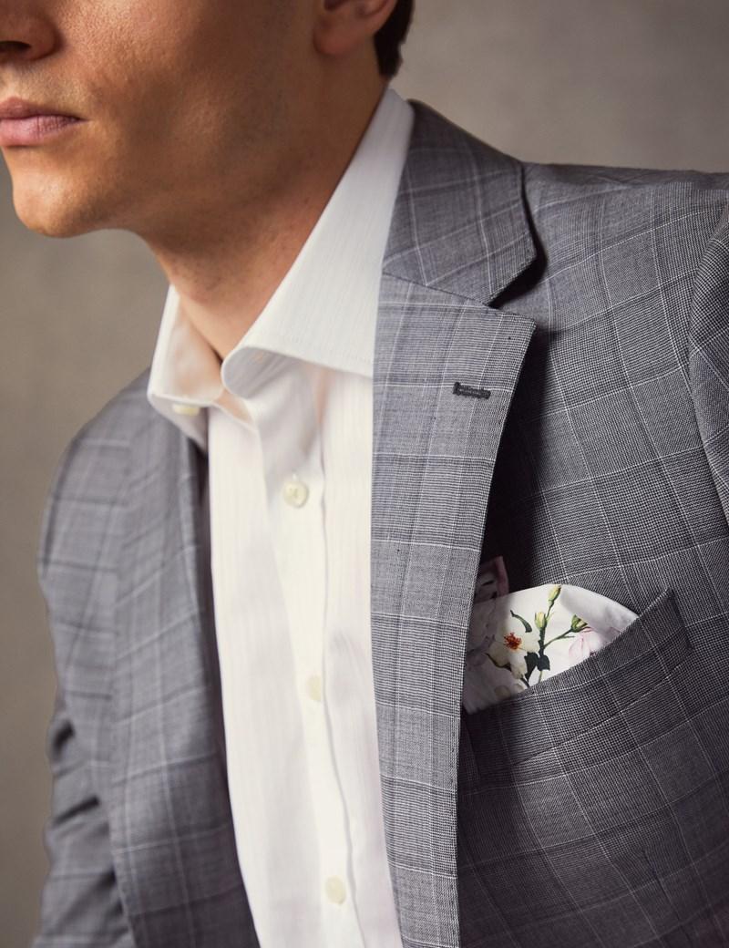 Men's Light Grey Medium Check Slim Fit Italian Suit Jacket – 1913 Collection