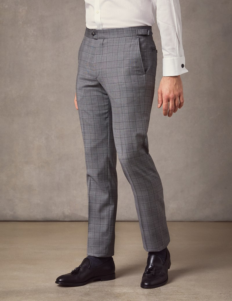 Men's Light Grey Medium Check Slim Fit Italian Suit – 1913 Collection