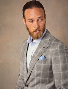 Men's Brown & Blue Over Check Tailored Fit Italian Suit Jacket – 1913 Collection