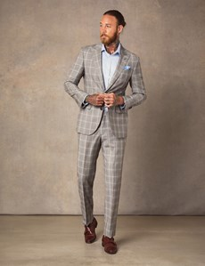 Men's Brown & Blue Over Check Tailored Fit Italian Suit – 1913 Collection