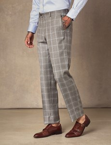 Men's Brown & Blue Over Plaid Tailored Fit Italian Suit – 1913 Collection