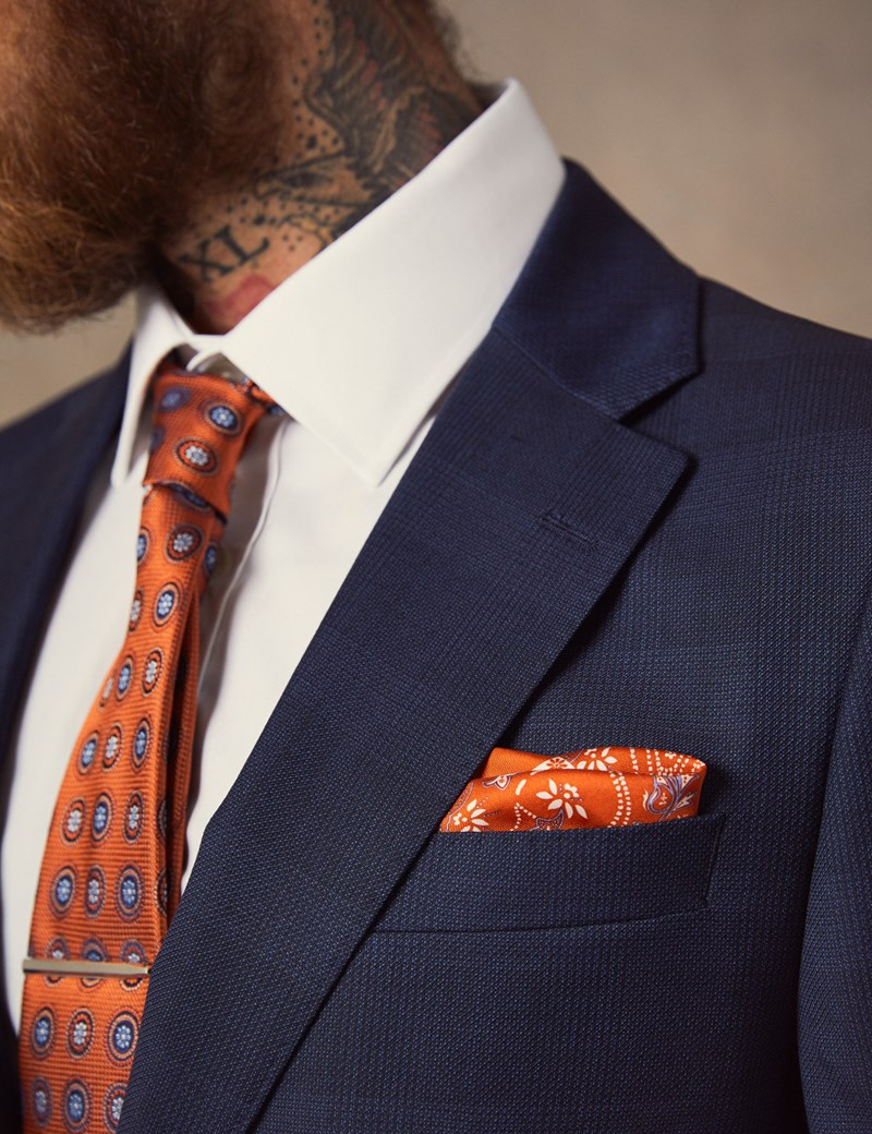 Luxuriöses Anzugsakko - Slim Fit - Prince of Wales Karo dunkelblau - 100S Wolle - 2-Knopf Einreiher - gefüttert - Seitenschlitze