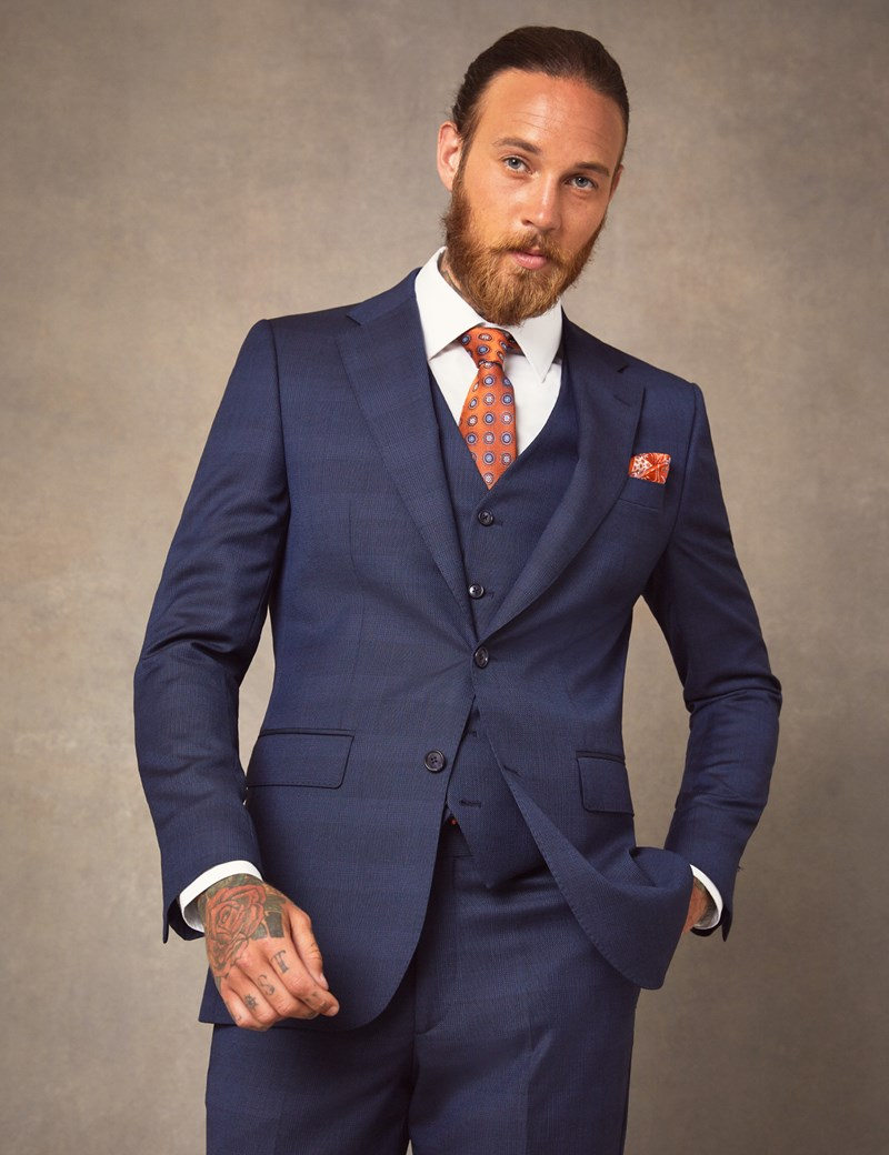 Men's Dark Blue Prince Of Wales Plaid Slim Fit Italian Suit – 1913 Collection