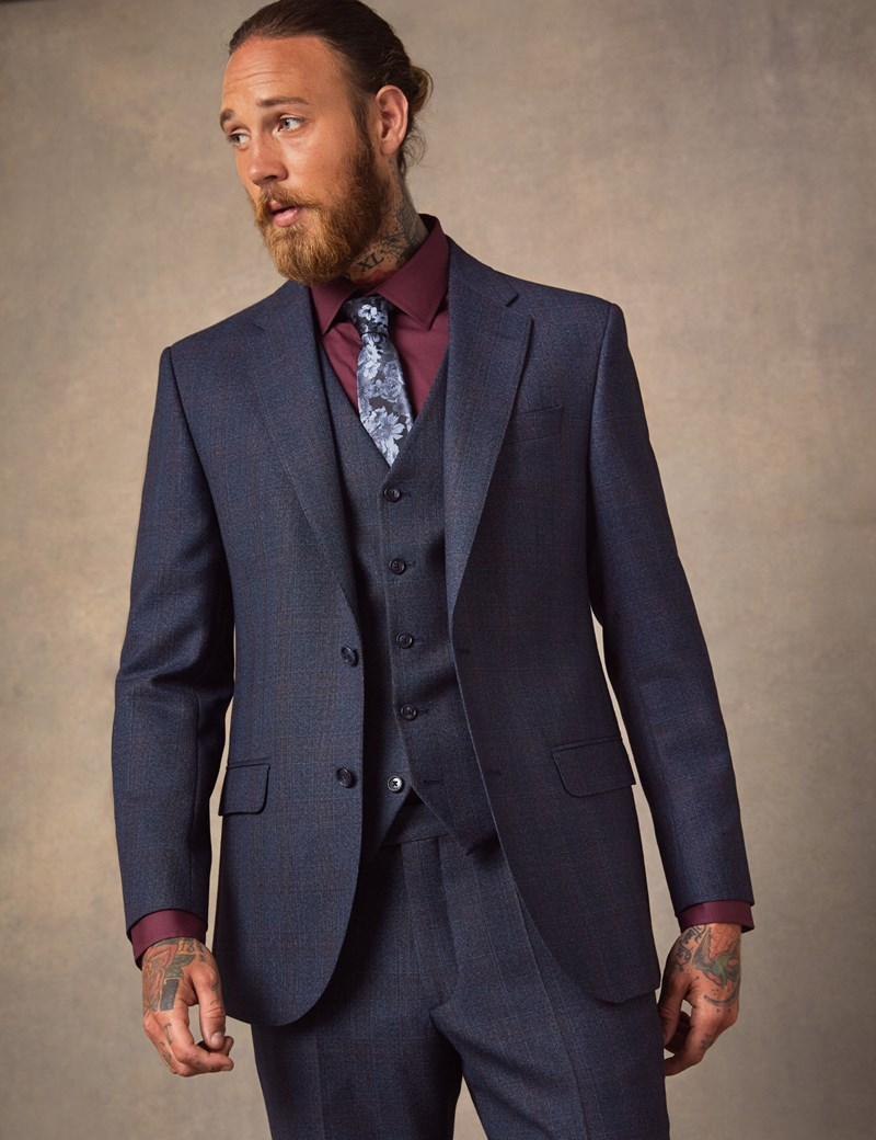 Men's Navy & Red Windowpane Check Tailored Fit Italian Suit Jacket – 1913 Collection