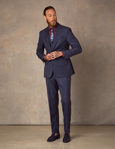 Men's Navy & Red Windowpane Plaid Tailored Fit Italian Suit Jacket – 1913 Collection