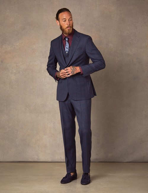 Men's Navy & Red Windowpane Plaid Tailored Fit Italian Suit – 1913 Collection